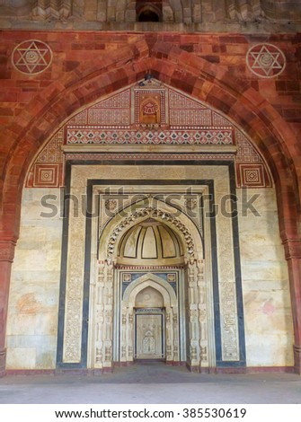 DELHI, INDIA - NOVEMBER 6: Interior of Qila-i-kuna Mosque in Purana Qila on November 6, 2014 in Delhi, India. Purana Qila is the oldest known structure of any type in Delhi.