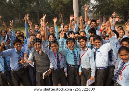 DELHI, INDIA - NOVEMBER 4: Unidentified school children visit Humayun's Tomb complex on November 4, 2014 in Delhi, India. Humayun's Tomb was the first garden-tomb on the Indian subcontinent. - stock photo