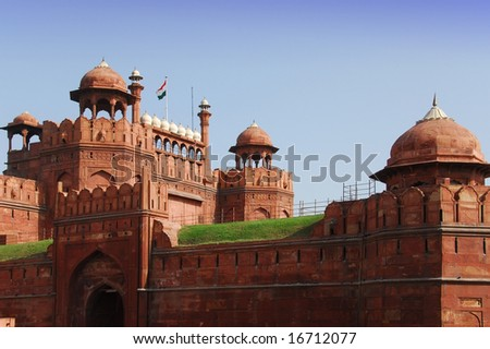 Delhi, India: Red Fort is a UNESCO World Heritage monument - stock photo