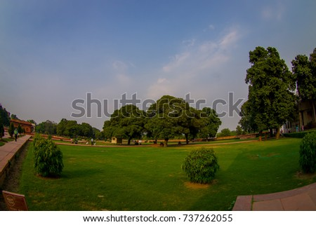 DELHI, INDIA - SEPTEMBER 25 2017: Bautiful outdoor view of the Sawan or Bhadon Pavilion in Hayat Baksh Bagh of Red Fort at Delhi, fish eye effect