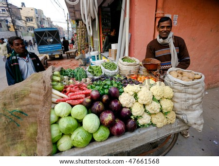 DELHI - JANUARY 31: Vegetable street vendor with his mobile stand on January 31, 2008 in Delhi, India. Most mobile vendors are illegal and have to either run away from the police or pay them bribes. - stock photo