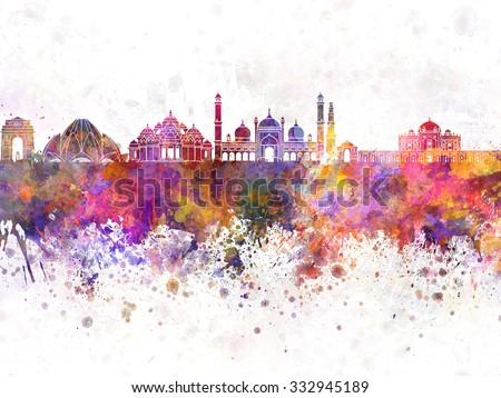 Delhi skyline in watercolor background - stock photo