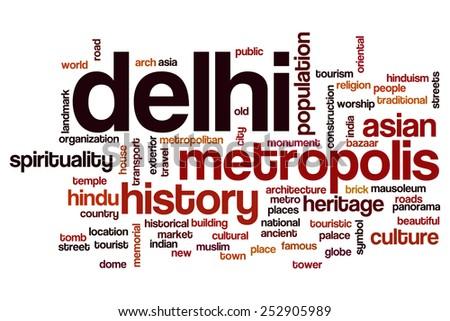 Delhi word cloud concept - stock photo