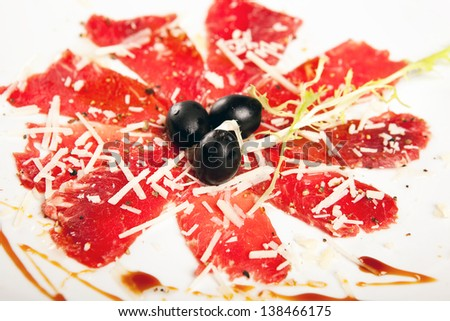 deli meat on plate on white background - stock photo
