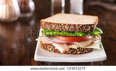 deli meat sandwich, shot at a wide aspect ratio - stock photo
