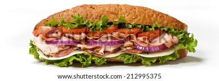 Deli Submarine Sandwich. Selective focus. - stock photo