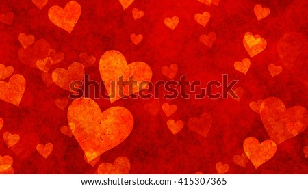 delicacy hearts on red textured backgrounds. Love texture. panoramic format - stock photo