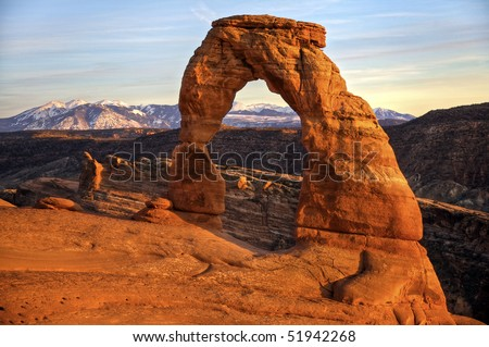 Delicate Arch at Sunset, Arches National Park, Utah. Delicate Arch is the symbol of the State of Utah. - stock photo