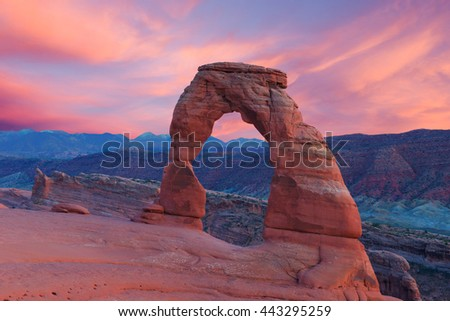 Delicate arch at sunset, Arches National Park, Utah, USA - stock photo