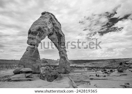 Delicate Arch in Arches National Park - stock photo