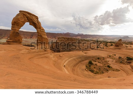 Delicate Arch in Arches National Park, Utah, USA - stock photo