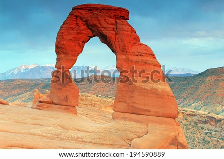 Delicate Arch in evening light, Moab, Utah, USA. - stock photo