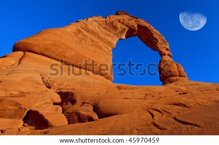 Delicate Arch Moon 002 - stock photo