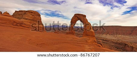 Delicate Arch panorama. Arches National Park, Utah - stock photo
