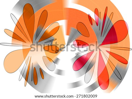 Delicate    beautiful  unique  modern    abstract design  with floral and geometric  motifs superimposed   on a  subtle  blurred  background ideal for  superbly    elegant  wallpapers - stock photo