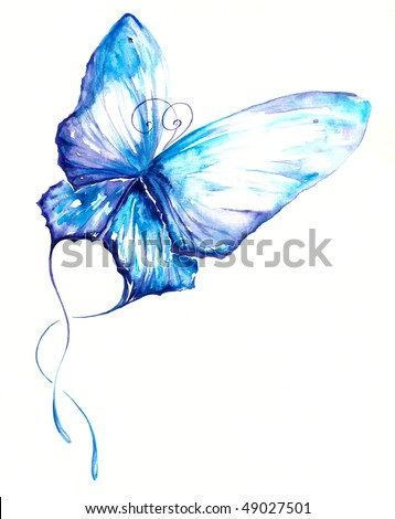 Delicate blue butterfly hand painted.Picture I have create myself with watercolors. - stock photo