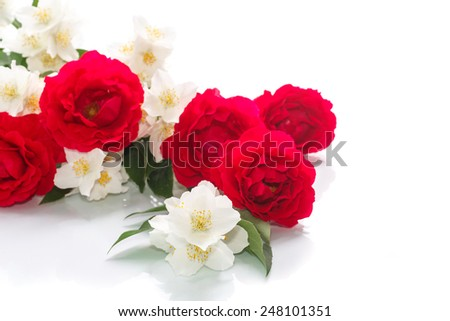 delicate bouquet of roses and jasmine on a white background