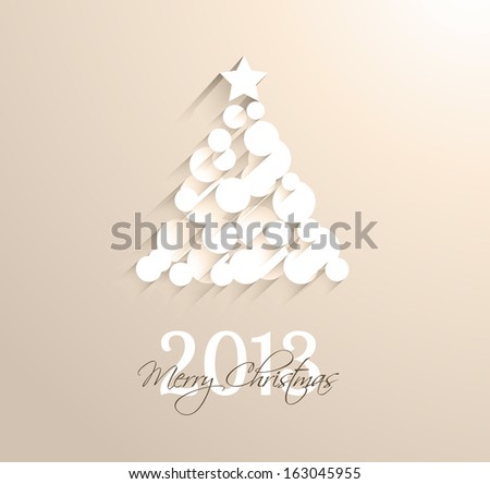 Delicate 2013 Christmas background made with circular white shapes with shadows. - stock photo