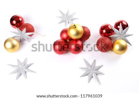 Delicate Christmas ornaments,Isolated on white background - stock photo