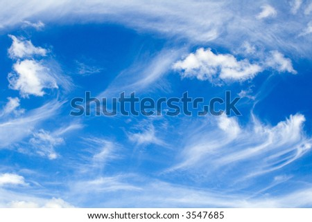 Delicate clouds in the blue sky