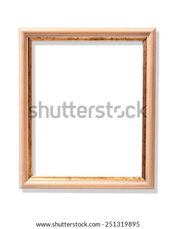 delicate color frame with shabby gold isolated on white background   - stock photo