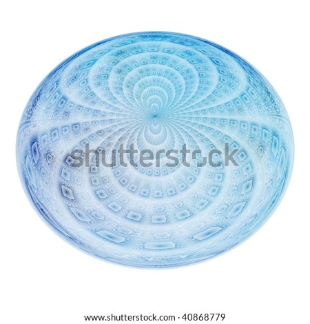 Delicate cyan / blue textured water droplet on white background - stock photo