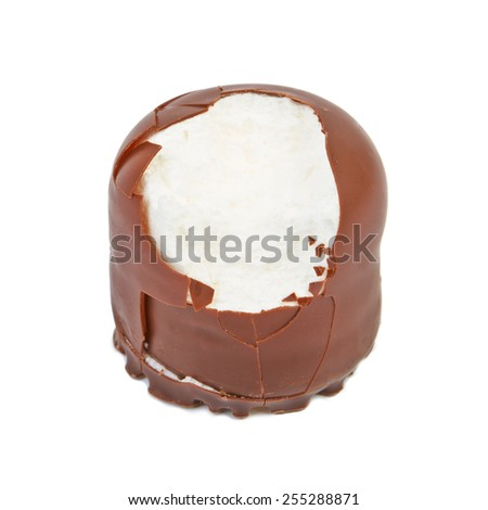 Delicate dessert souffle with chocolate isolated on white - stock photo