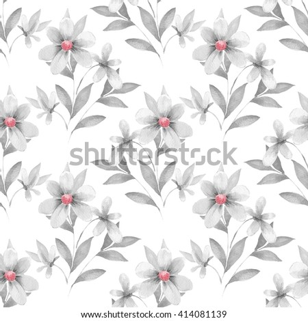 Delicate floral set. Seamless pattern 53 - stock photo