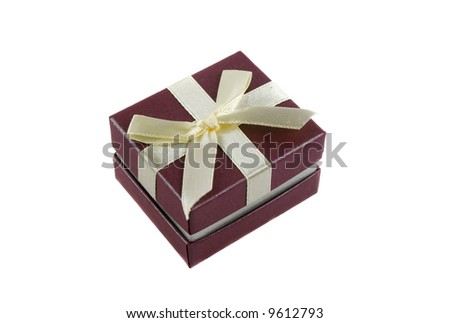 Delicate gift box with a bow for a ring.