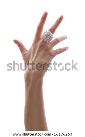 delicate hand with beautiful diamond ring