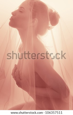 delicate nude woman covered with veil profile low contrast studio shot - stock photo