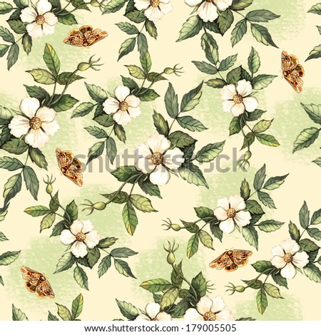 Delicate pattern with flowers and butterflies hips. Seamless pattern for fabric, paper and other printing and web projects. - stock photo