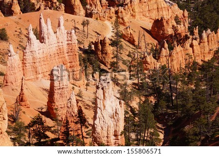 Delicate sandstone pinnacles in many colors line the canyon of Bryce Canyon National Park, Utah