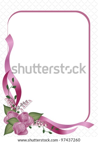 Delicate three  rose bouquet with frame Invitation or Announcement on a  Scallop background for Wedding or Party. - stock photo