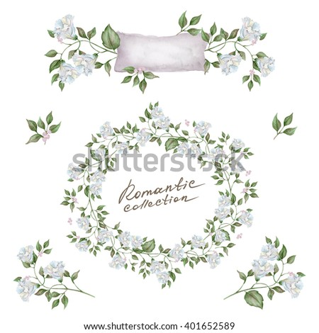 Delicate watercolor floral set. Great start for wedding card, invitation card and other products. - stock photo