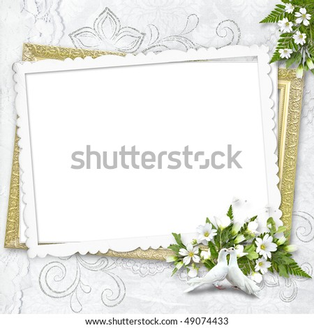 Delicate white frame with white pigeons - stock photo