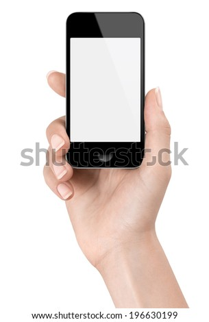 Delicate woman's hand holding a generic Smart phone for a photo. - stock photo