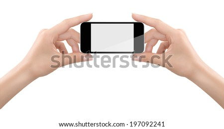 Delicate woman's hand holding a generic Smart phone for a photo.