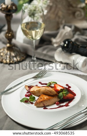 Delicatessen Foie Gras with cranberry sauce and wine restaurant supply