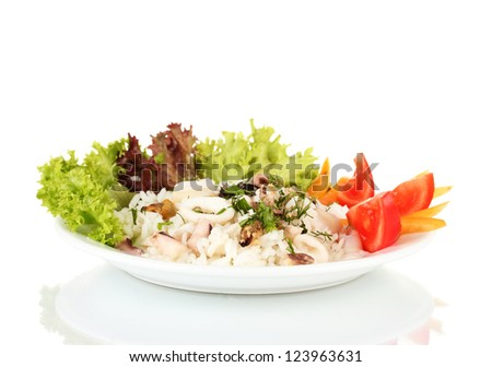 Delicatessen seafood salad with rice isolated on white