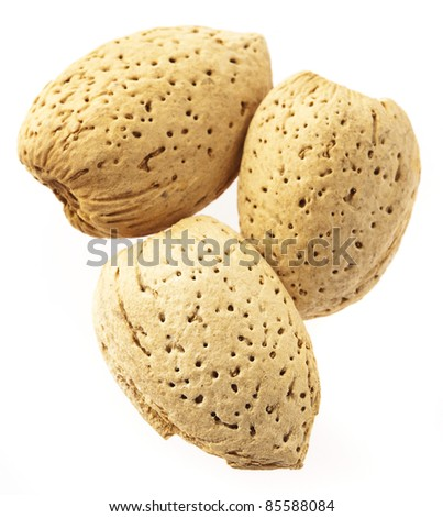 delicious almond isolated on a white background - stock photo