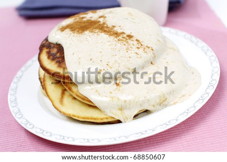 Delicious American pancakes with sour cream and cinnamon