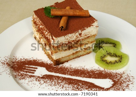 delicious and beautiful cake with  the cinnamon topping - stock photo