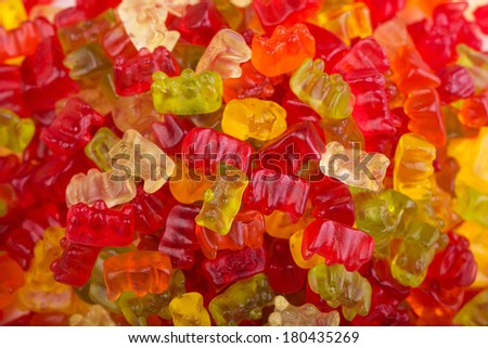 Delicious and colorful gummi bears - stock photo