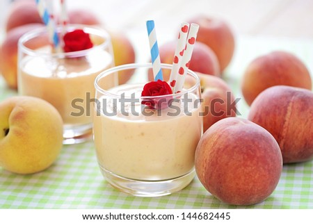 delicious and fresh peach smoothie  - food and drink - stock photo