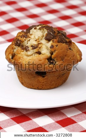 Delicious and freshly made chocolate chips muffin