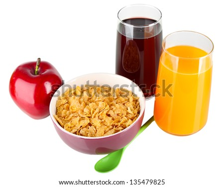Delicious and healthy cereal in bowl with juice and fruit isolated on white - stock photo