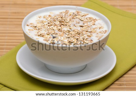 Delicious and healthy granola or muesli, with lots of dry fruits, nuts and grains - stock photo