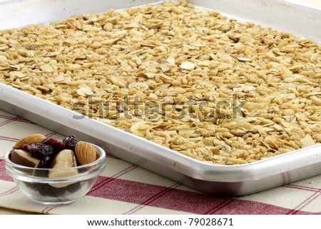 delicious and healthy granola, with lots of dry fruits, nuts and grains - stock photo