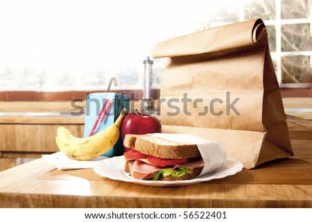delicious and healthy school lunch with paper bag - stock photo